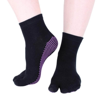 Hoopomania One Toe calzini anti-slip yoga con borchie in gomma, nero