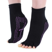 "Hoopomania ""Half Toe"" anti-slip yoga socks with rubber studs, black, size: M"